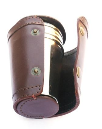 Wolf Head 4 Stacking Stirrup Shot Cups in Leather Case