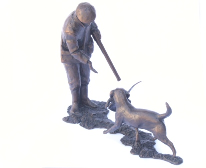 """First Retrieve"" shooter and Labrador Solid Bronze shooting gift"