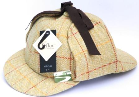 Deerstalker Tweed Shooting Cap Hat 100% Wool Teflon Coated