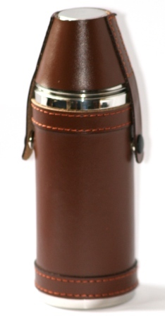 Hunting Hip Flask & Cups Set Leather Bound Stainless Steel