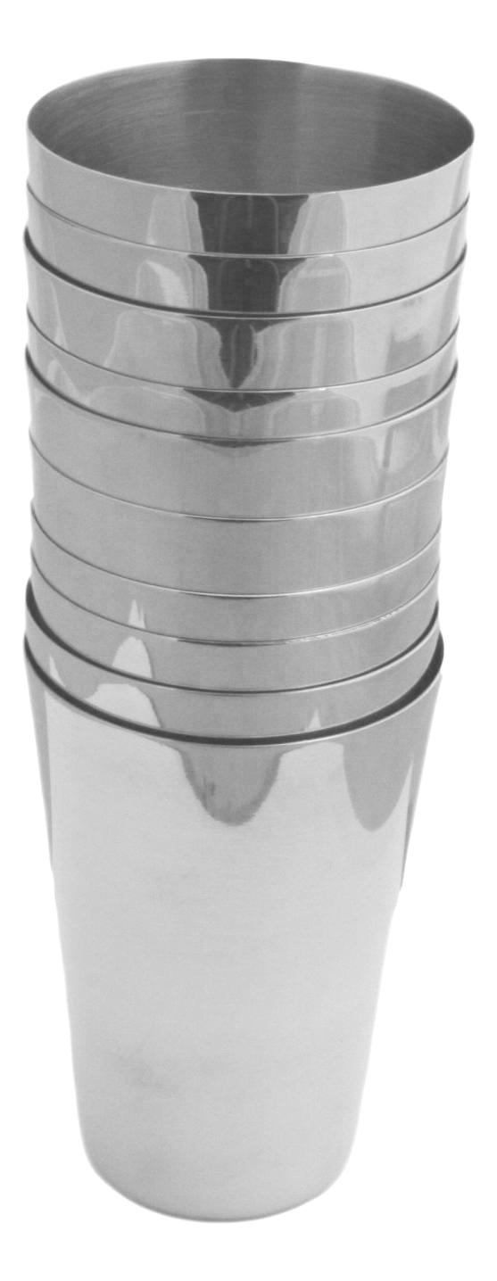 Set of 10 Beakers 12oz Stacking Stainless Steel Stirrup Cups