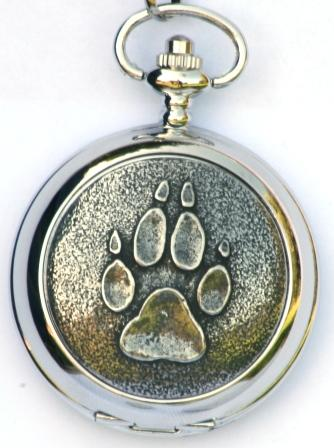 Wolf Paw Print Pocket Watch Gift Boxed Free Engraving