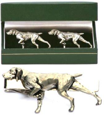 German Shorthaired Pointer Cufflinks & Tie Clip Set GSP Present