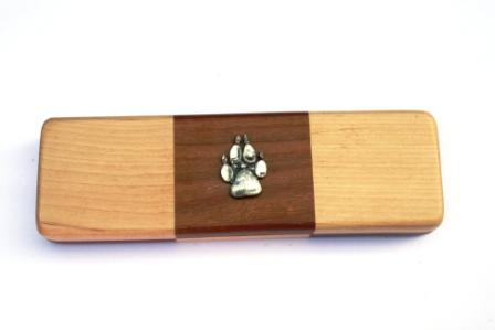 Wolf Paw Black Ball Point Pens in a Chequered Wooden Presentatio