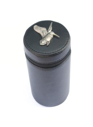 Woodcock flying Peg Finder Numbered Cups 1-10 Black Leather Case