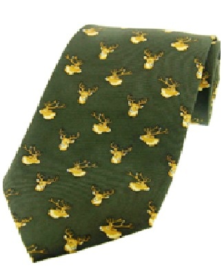 Green Stag Heads Hunting Silk Tie