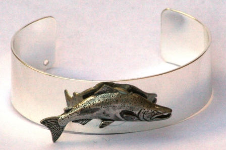 Salmon Pewter Emblem Silver Plated Bangle Fishing Gift Boxed