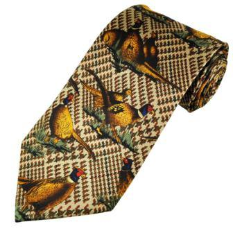 Pheasant Tie on Brown Check Silk Shooting Tie