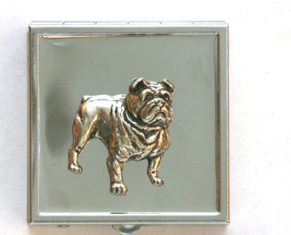 Bulldog Design Pill Box with Mirror Gift Pouched