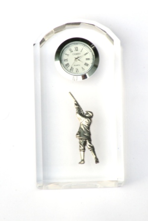 Gunman Shooter Design Glass Clock Bedside or Desk Top Gift Boxed