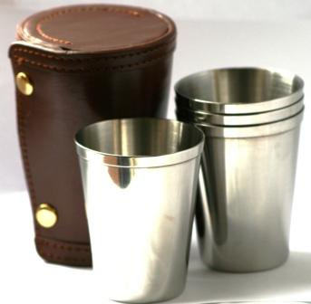 4 Stacking Stainless Steel Stirrup Cups in Leather Case