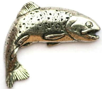 Rainbow trout pewter pin badge ideal for fly fishing gift for Fly fishing gifts