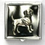 Beagle Emblem Pill or Mint Box with Mirror Gift Pouched
