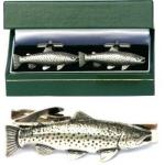 Brown Trout Cufflinks & Tie Clip Set Mens River Fishing Gift