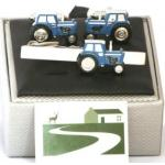 Blue Fordson Tractor Cufflinks and Tie bar set Farming Gift