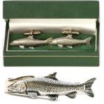 Barbel Cufflinks & Tie Clip Set Mens Freshwater Fishing Gift