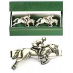 Eventing Cufflinks & Tie Clip Set Mens Show Jumping Gift
