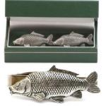 Common Carp Cufflinks & Tie Clip Set Mens Fishing Gift