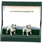 British Bulldog Cufflinks Mens Pewter Enthusiast Owner Gift