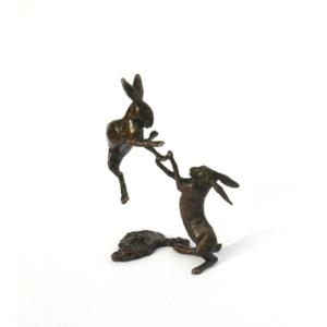 Boxing Hares Solid Miniature bronze (2012)