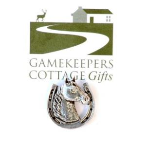 Equestrian Pin Badge Horse shoe with Horse Head.