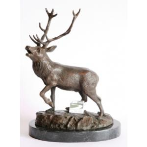 Roaring Stag Buck Bronze Sculpture on Marble Base Hunting Gift