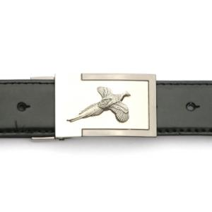 Pheasant Design Belt Buckle and Leather Belt Set Ideal Shooting