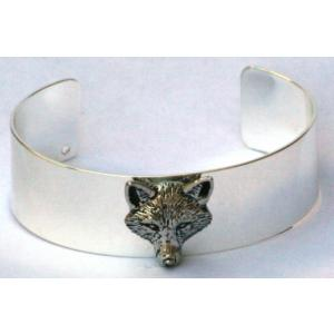 silver pewter plate head fox bangle emblem hunting gift boxed