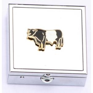 Belted Galloway Enamel Emblem Pill Box with Mirror Farming Gift